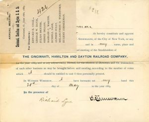 Cincinnati, Hamilton and Dayton Railroad Company signed by Eugene Zimmerman