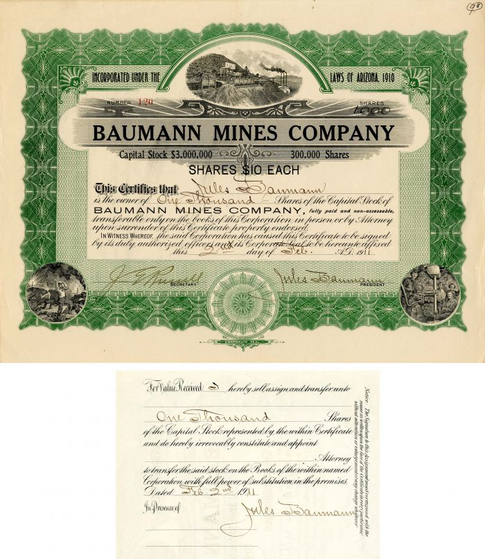 Baumann Mines Company Issued to and Signed by Jules Baumann