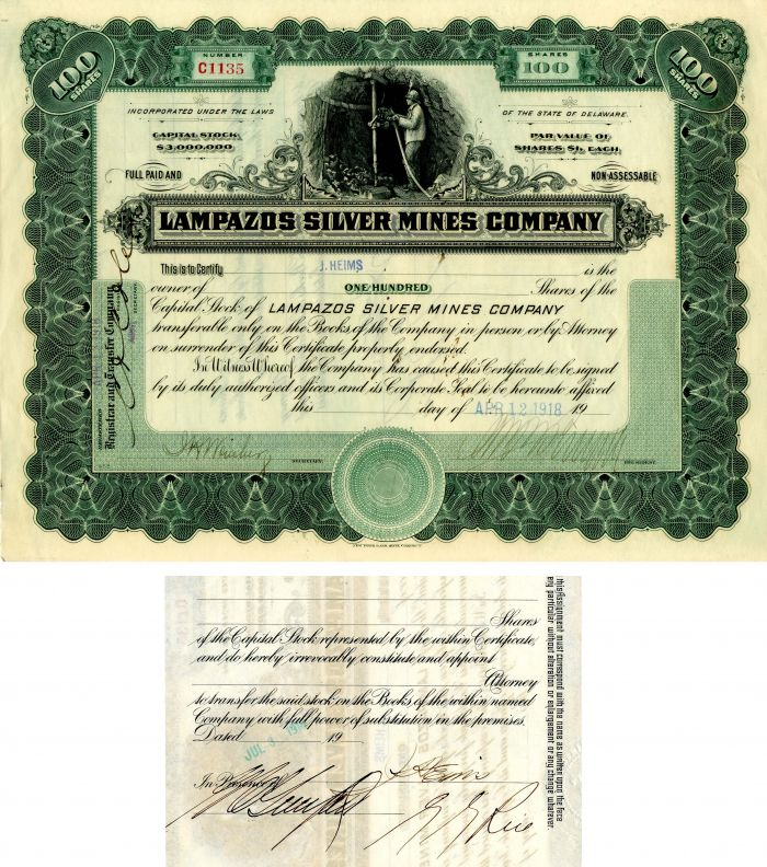 Lampazos Silver Mines Company signed at back by G.G. Rice