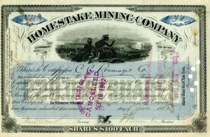 Homestake Mining Company signed by Fred Clark