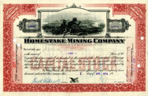 Homestake Mining Company signed by Fred Clark - Stock Certificate - SOLD