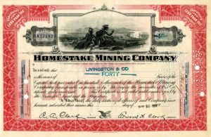 Homestake Mining Company with printed signature of Fred Clark and Edward H. Clark - Stock Certificate