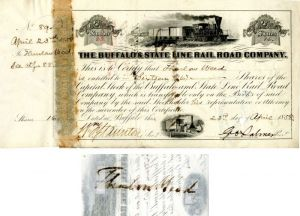 Thurlow Weed signs Buffalo and State Line Rail Road Company - Stock Certificate - SOLD