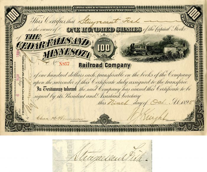 Cedar Falls and Minnestoa Railroad Company Issued to and signed by Stuyvesant Fish - Stock Certificate