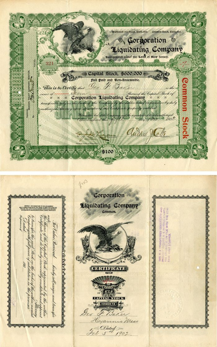 Corporation Liquidating Company issued to and signed by Geo. F. Baker - Stock Certificate
