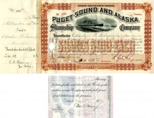 Puget Sound and Alaska Steamship Company issued to and signed by Charles T. Barney - Stock Certificate