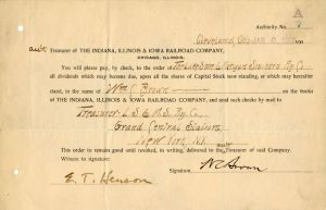 Indiana, Illinois & Iowa Railroad Company Issued to and Signed by Wm. C. Brown - Stock Certificate
