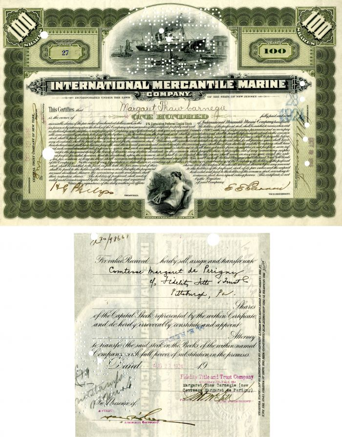 International Mercantile Marine Company Issued to Margaret Thaw Carnegie - Stock Certificate