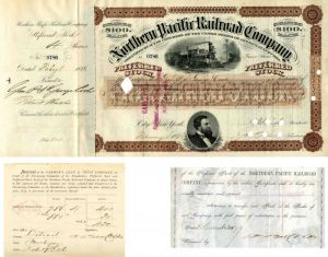 Northern Pacific Railroad Company Issued to and Signed by Genl. P. St. George Cooke - Stock Certificate