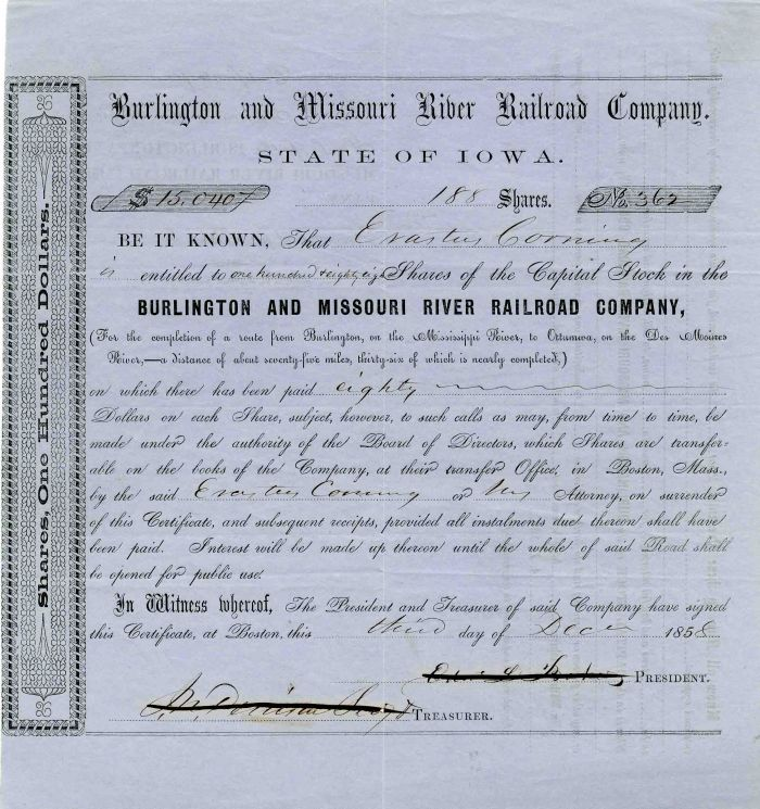 Burlington and Missouri River Railroad Company Issued to Erastus Corning - Stock Certificate