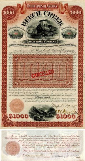 Beech Creek Railroad Company Signed by Chauncey M. Depew - $1,000 Bond