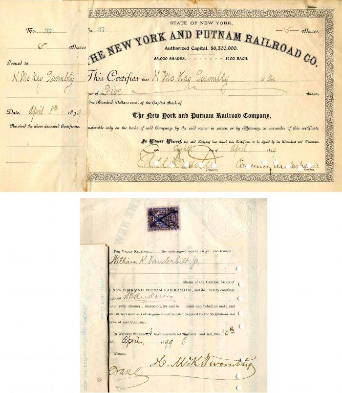 New York and Putnam Railroad Co. Signed by Chauncey M. Depew - Stock Certificate