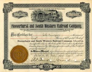 Hooverhurst and South Western Railroad Company Signed by A.G. Edwards - Stock Certificate