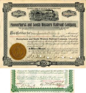 Hooverhurst and South Western Railroad Company Signed twice by A.G. Edwards - Stock Certificate