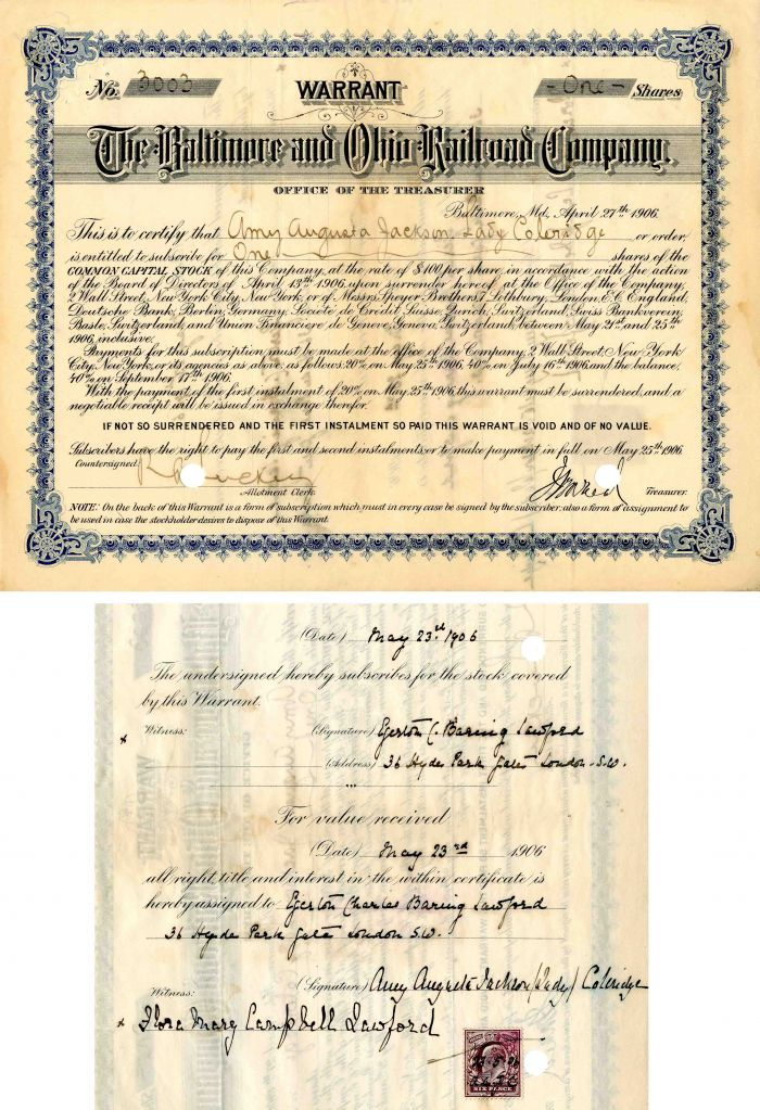 Baltimore and Ohio Railroad Company Issued to and Signed by Amy Augusta Jackson. Lady Coleridge - Stock Certificate