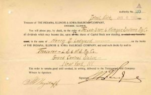 Indiana, Illinois & Iowa Railroad Company Transfer Issued to and Signed by Henry B. Ledyard - Stock Transfer