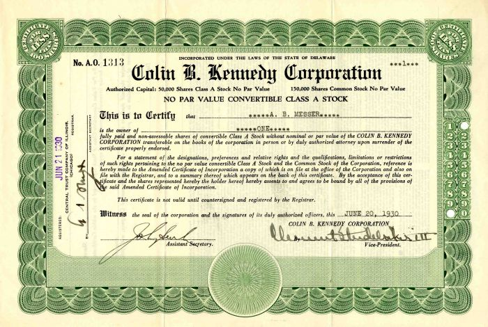 Colin B. Kennedy Corporation signed by Clement Studebaker III - Stock Certificate