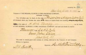 Indiana, Illinois & Iowa Railroad Company Issued to and Signed by H. McK. Twombly - Stock Certificate