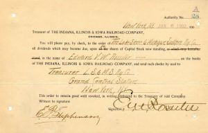 Indiana, Illinois & Iowa Railroad Company Issued to and Signed by Edward V.W. Rossiter - Stock Certificate
