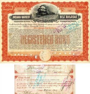Indiana Harbor Belt Railroad Company Issued to and Signed by Cathleen Vanderbilt Cushing - $5,000 Bond