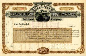 Beech Creek, Clearfield and South Western Rail Road Company Signed by Cornelius Vanderbilt - Stock Certificate