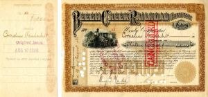 Beech Creek Railroad Company Issued to Cornelius Vanderbilt - Stock Certificate