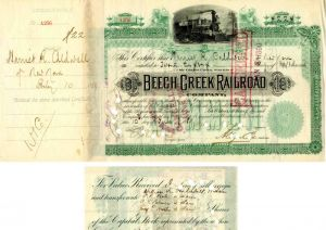 Beech Creek Railroad Company transferred to Wm. K Vanderbilt - Stock Certificate