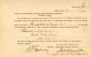 Indiana, Illinois & Iowa Railroad Company Signed by E.D. Worcester - Stock Certificate