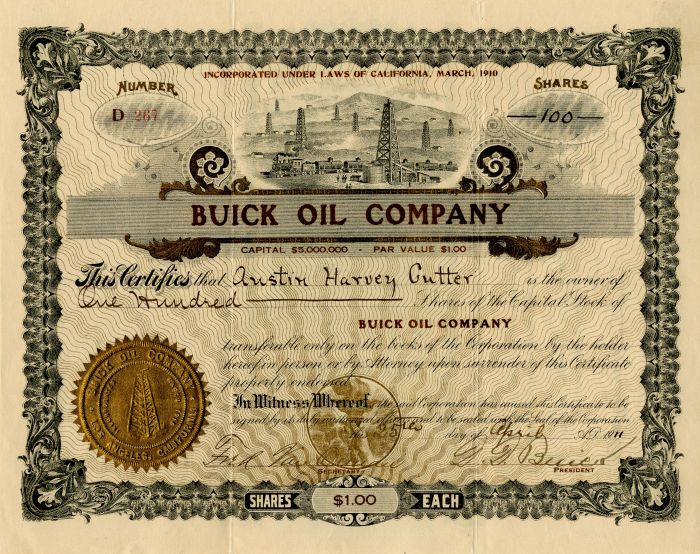 Buick Oil Company signed by D.D. Buick - Autographed Stock