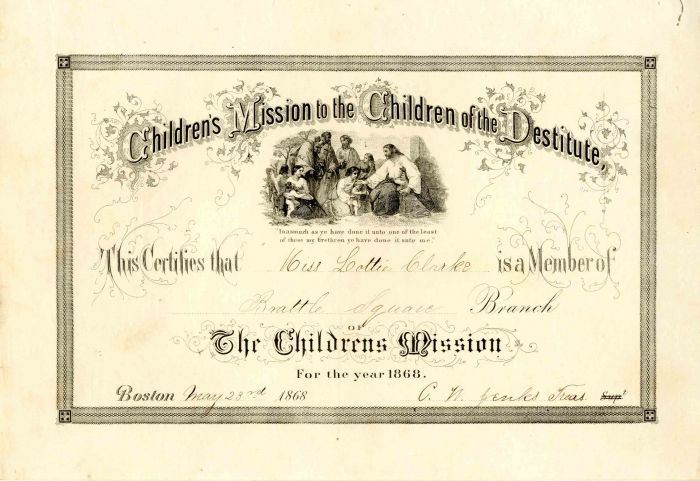 Children's Mission to the Children of the Destiture Membership Certificate