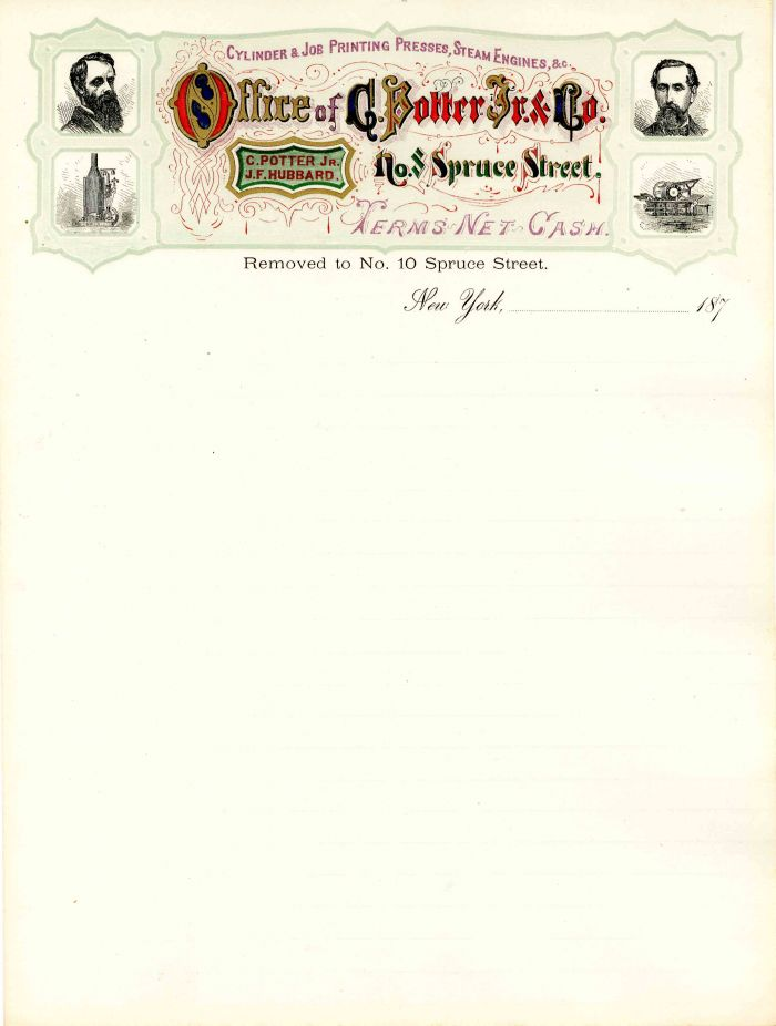 Letterhead for the Office of C. Potter Jr. & Co.