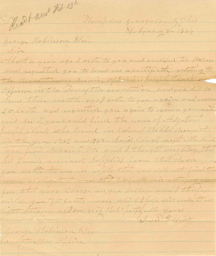 Letter during Civil War