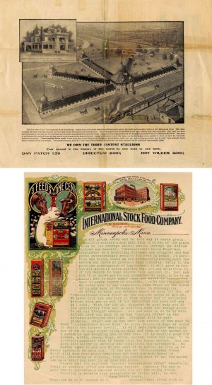 Letter from the International Stock Food Company