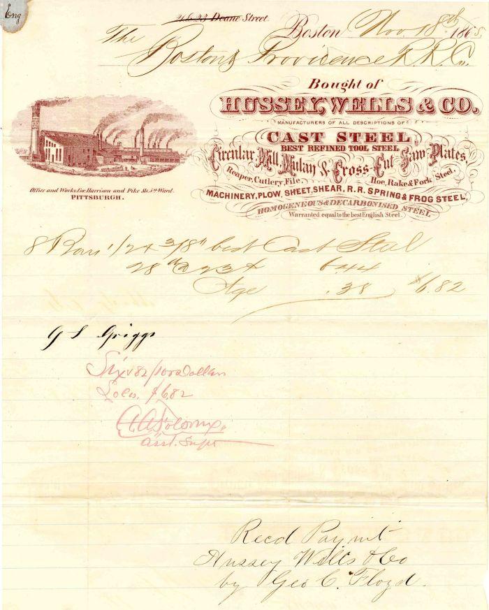 Hussey, Wells & Co. Receipt