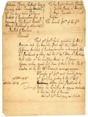 Early Letter to the Court against the Lords
