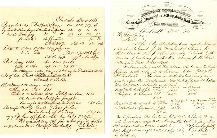 Group of Correspondence for the Cleveland, Painesville & Ashtabula Railroad Co. - SOLD