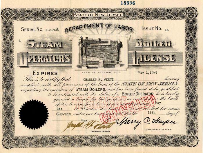 Steam Boiler Operator's License