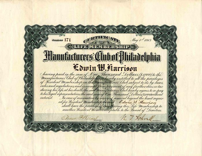 Manufactureres Club of Philadelphia Membership Certificate