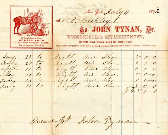 Receipt for Horseshoeing