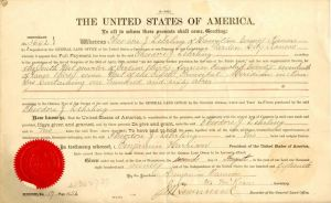 Land Grant signed under Benjamin Harrison Adminstration - Secretarial Signature
