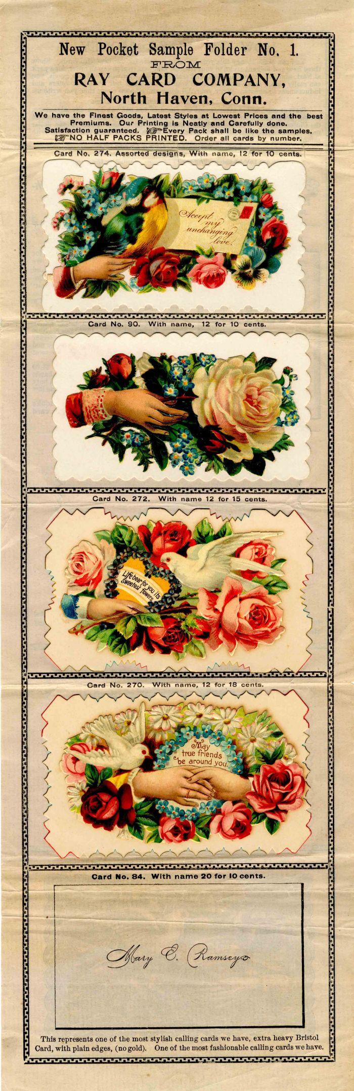 Ray Card Company Sample Sheet