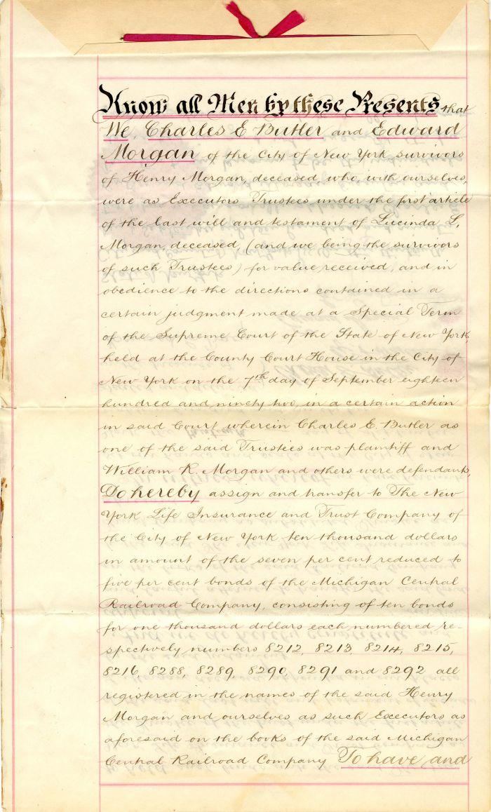 Transfer of Bonds for the Michigan Central Railroad Company - SOLD