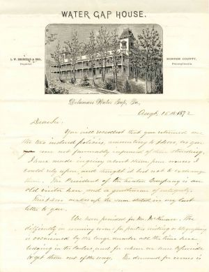 Letter on Water Gap House stationery