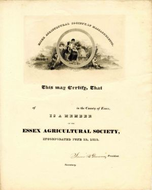Essex Agricultural Society of Massachusetts Certificate