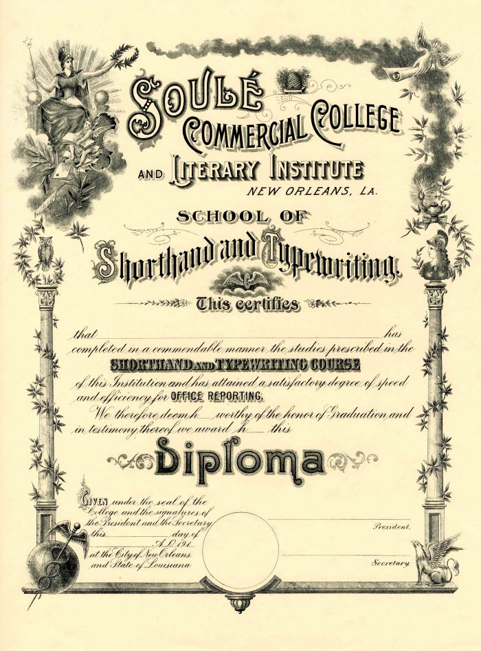 Diploma from the Soule Commercial College and Literary Institute