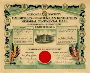Certificate for the National Society Daughters of the American Revolution - SOLD