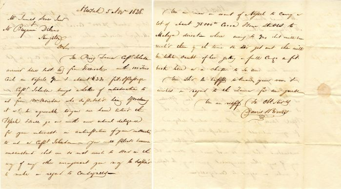 Early Handwritten Letter from New York to Kingston, Mass.