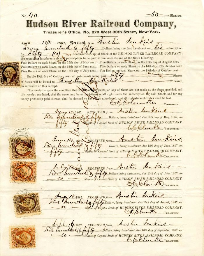 Hudson River Railroad Company Share Receipt