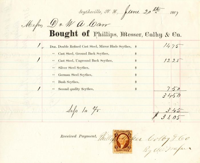 Invoice from Phillips, Messer, Colby & Co.