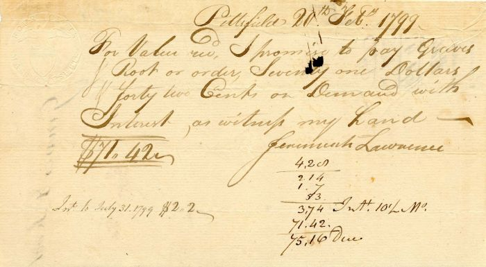 Promissory Note with Embossed Revenue